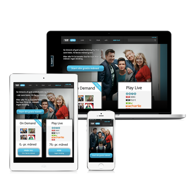 tv2.dk/play landing page design