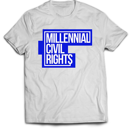 Millennial Civil Rights White and Blue T-Shirt