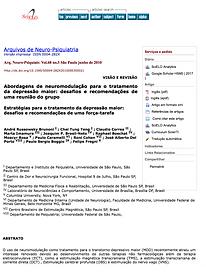 Artigo descreve e analisa  métodos não invasivos para  tratamento de doenças neuropsiquiátricas : A Estimulação de Nervo Vago ( VNS) , A Estimulação Magnética Transcraniana ( TMS)  e a Estimulação Elétrica de Corrente Contínua ( TDCS)