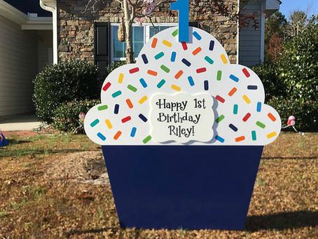Happy First Birthday Riley! Orlando Lawn Sign Rentals - Stork Lady Celebrations