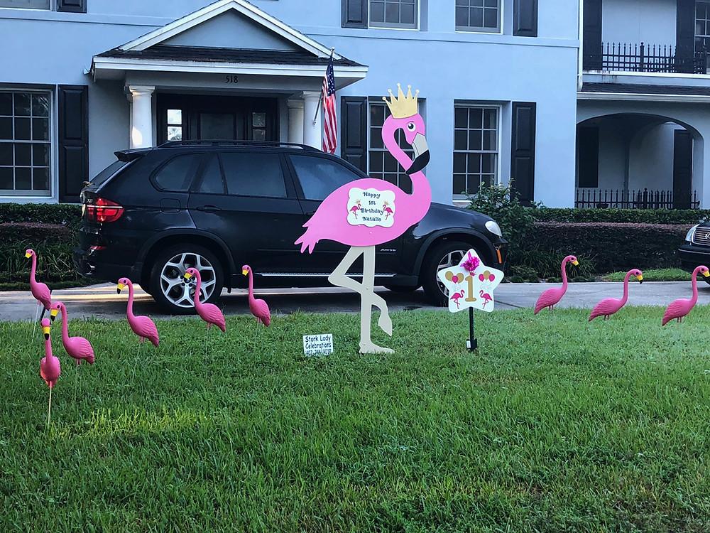 Giant Flamingo Yard Sign Rental - Orlando