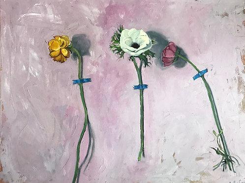 "Three Flowers 22X28"""