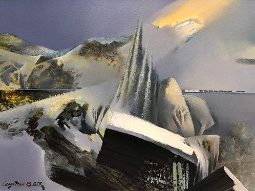"""Картина """"Лыжи у сарая, поездка на дачу"""", 40 х 60 см, холст, масло"""