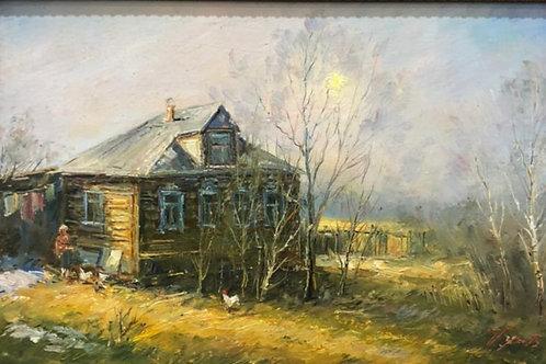"""Картина """"Старый  дом"""", 21 х 30 см, холст, масло"""