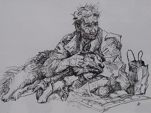 """Картина """"Бездомный с собачкой"""", 33х39, бумага, тушь"""