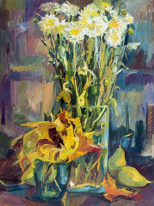 """Картина """"Хризантемы и листья"""", 50х40, холст, масло"""