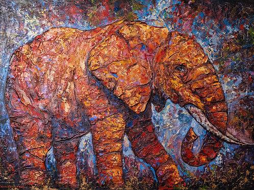 "Картина ""Красный слон"", 75 х 100 см, холст, масло"