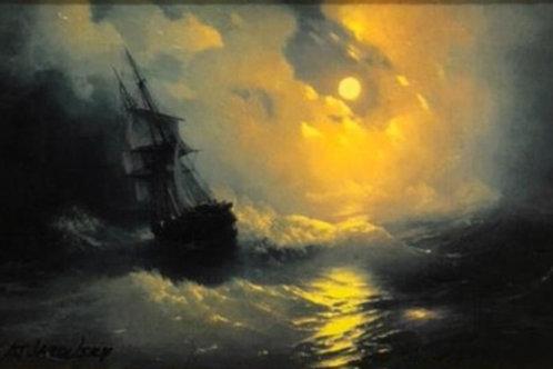 """Картина """"Буря"""", 30 х 18 см, холст, масло"""