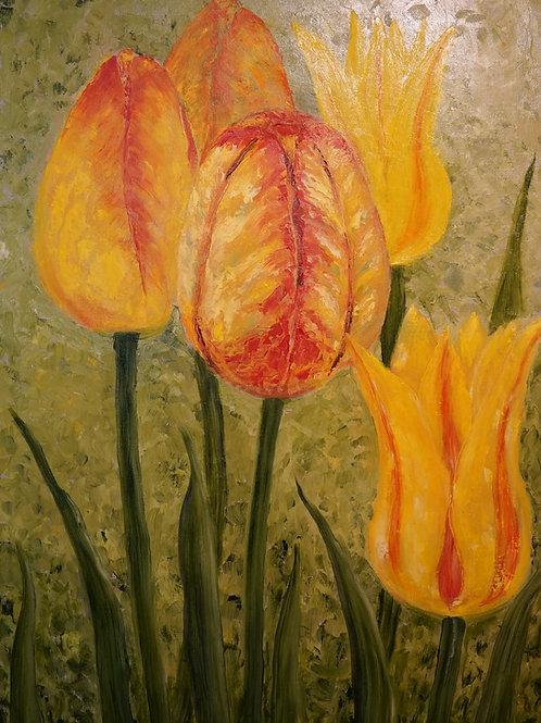 """Картина """"Тюльпаны. Вечерние грёзы"""", 45х60, холст, масло"""