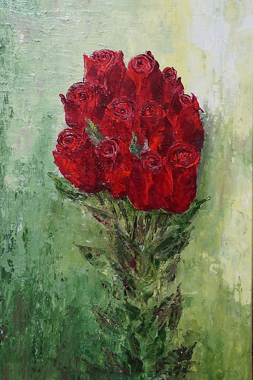 "Картина ""Алые розы"", 50 х 30 см., холст, масло"