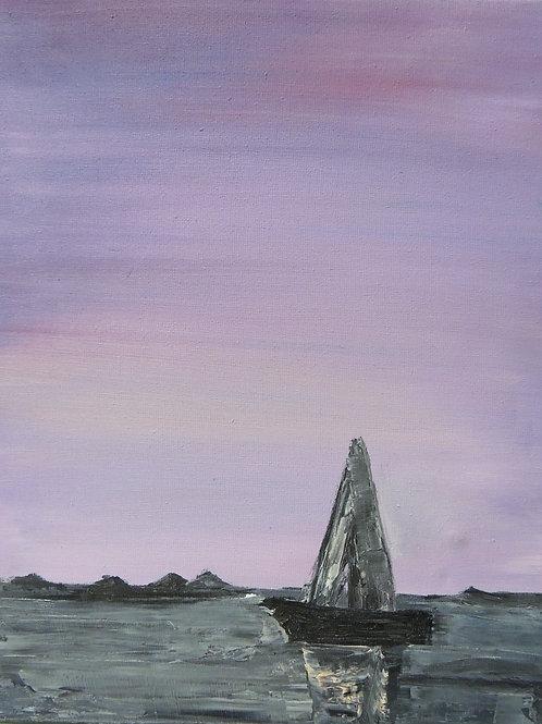 """Картина """"Сиреневый закат"""", холст, масло, 24 х 29,5"""
