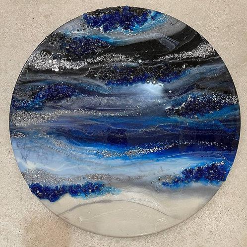 Картина «Синий шик», д=50 см, двп, смола, горный хрусталь
