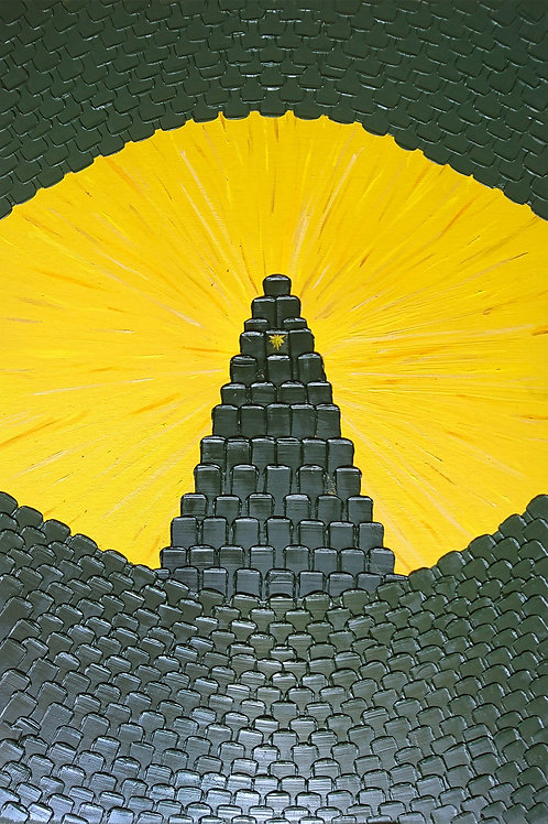 """Картина """"Миры Пикселей #25"""" 60х40 Холст на картоне, Масло, Кисть"""