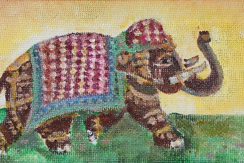 "Картина ""Слоненок"", 15х30, холст, масло"