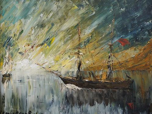 """Картина """"Шхуна"""", 40х50, холст, масло"""