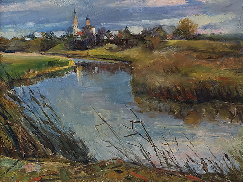 "Картина ""Коровники. Суздаль"", 40х50, холст, масло"