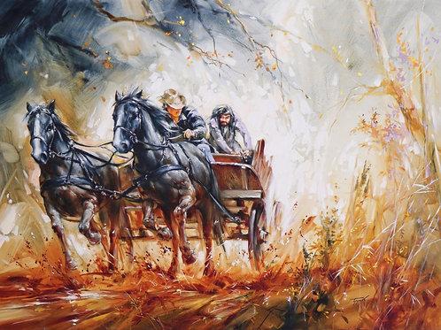 """Картина """"Повозка"""", 50 х 70 см, холст, масло"""
