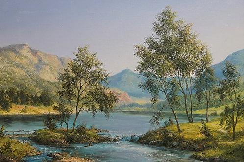 """Картина """"Озеро в горах"""", 37 х 51 см., холст, масло"""