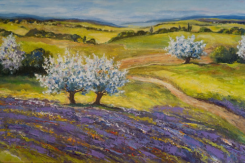 "Картина ""Весна. Деревья цветут"", 35х60, холст, масло"