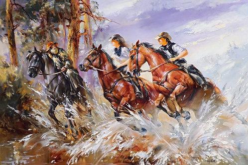 """Картина """"Лошади"""", 50 х 70 см, холст, масло"""