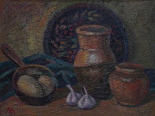 "Картина ""Натюрморт с картошкой"", 30 х 40 см., холст, масло"