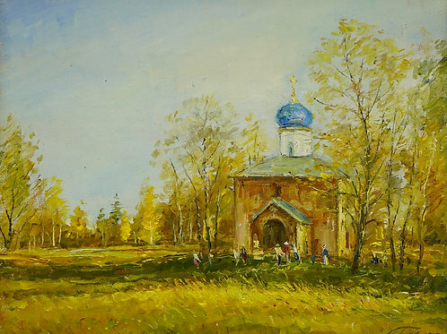 "Картина ""Пейзаж в деревне"", 24х30, холст на картоне, масло"