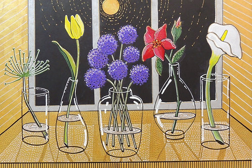 "Картина ""Цветы в ночи"", картон, акрил, маркер, 30 х 40"