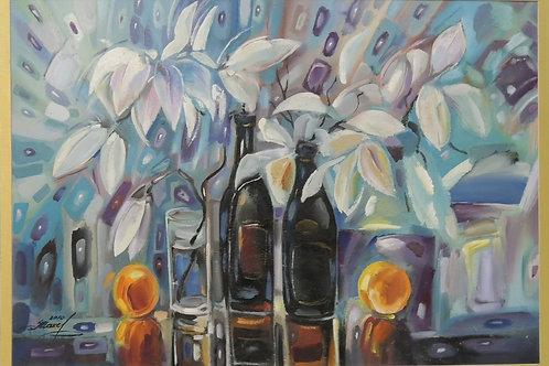 """Картина """"Натюрморт с вазами"""" 100 х 70 см. картон, масло"""