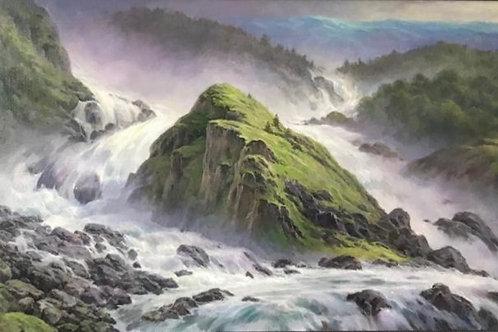 "Картина ""Горная река"", 60 х 100 см, холст, масло"