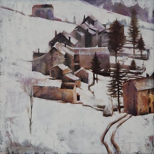 """Картина """"Снег в Тоскане"""", 80х80, холст, масло"""