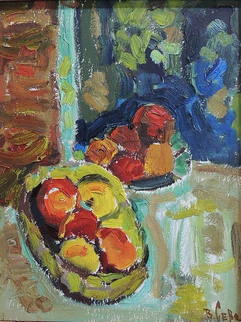 """Картина """"Яблоки"""", 50 х 38, картон, масло"""