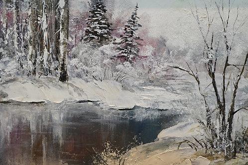 """Картина """"Зимняя река"""", 18х24, картон, масло"""