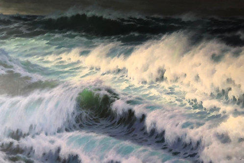 "Картина ""Морская стихия"", 180 х 290 см, холст, масло"