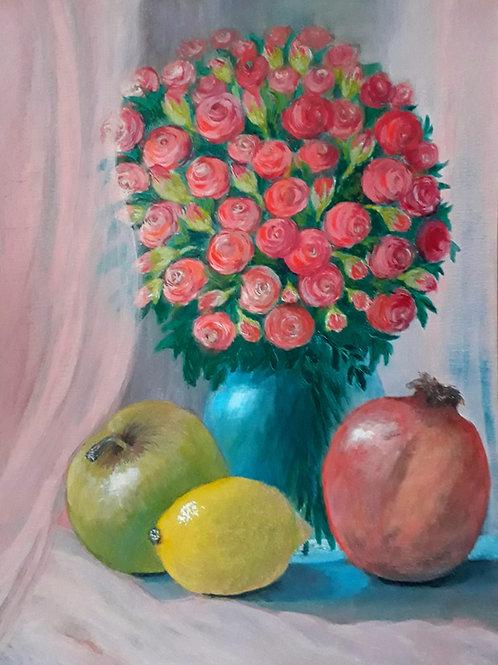"""Картина """"В розовых тонах"""", 42 х 32см, пастель"""