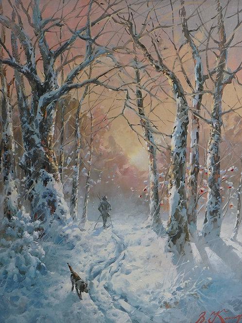"""Картина """"Зимний пейзаж"""", холст, масло"""