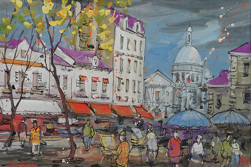 "Картина ""Париж"", бумага акварель"