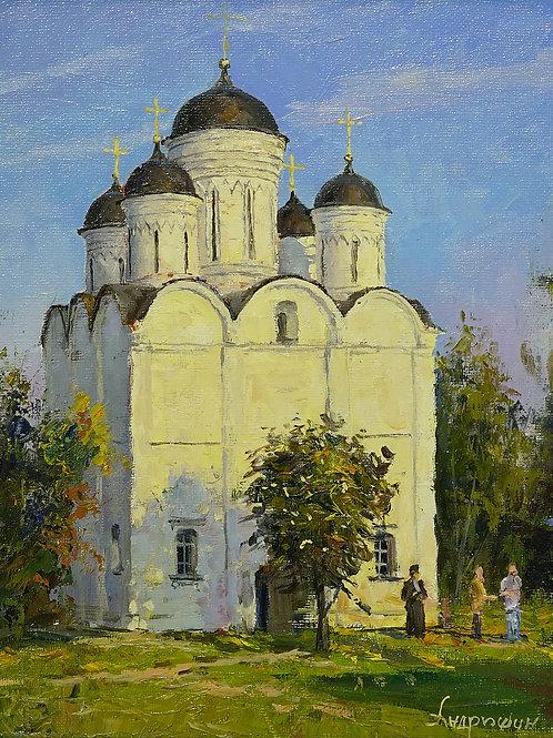 "Картина ""Храм в Микулино. Лето"", 30х25, холст, масло"