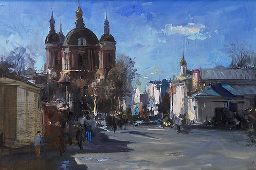 "Картина ""Вид на монастырь"", 40х60, холст, масло"