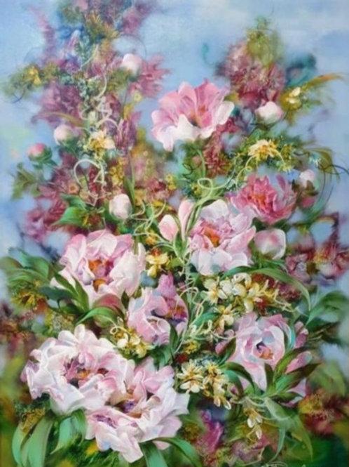 """Картина """"Цветы"""", 70 х 50 см, холст, масло"""