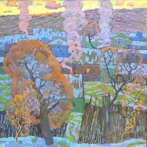 "Картина ""Начало ноября. Деревня  Комиссаровка"", холст, масло, 100 х 100"