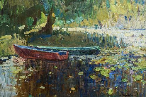 "Картина ""На реке"", 50х70, холст, масло"