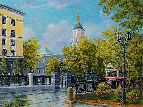 "Картина ""Москва. Чистопрудный бульвар"", 40 х 50 см., холст, масло"