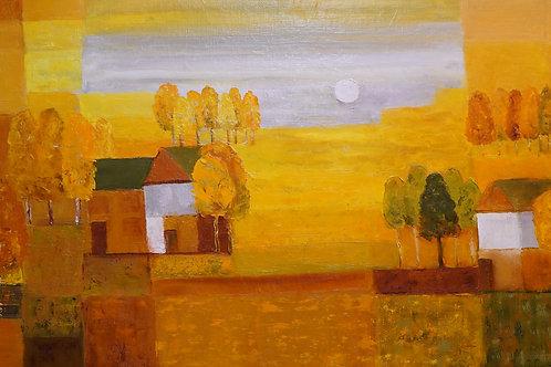 "Картина ""Осень золотая"", 40х70, холст, масло"