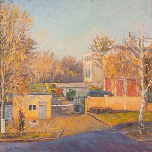 "Картина ""Осень в городе"", 50 х 60 см, холст, масло"