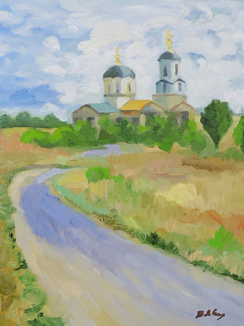 """Картина """"Церковь во Владимирске"""", 60 х 50 см, холст, масло"""
