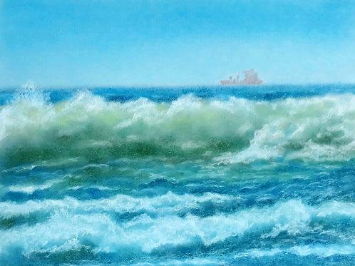 """Картина """"Волна"""", 42 х 32 см, пастель"""