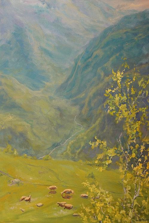 """Картина """"Утро в горах """", 70х50, холст, масло"""
