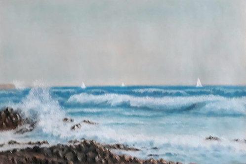 """Картина """"Морская идиллия"""", 42 х 32 см, пастель"""