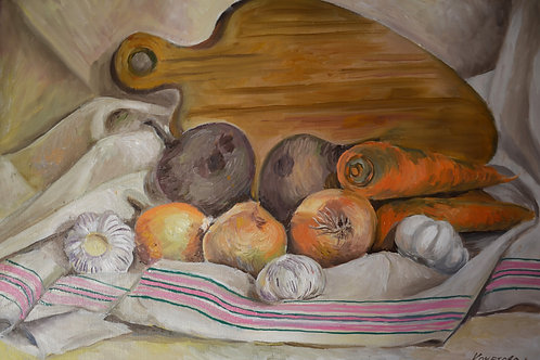 "Картина ""Овощной натюрморт""35х50, холст на картоне, масло"