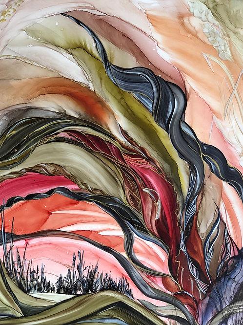 Картина «Над пропастью во ржи», 40 х 50 см, алкогольные чернила